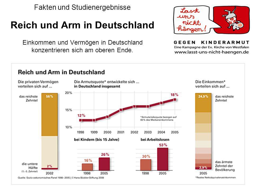 Fakten und Studienergebnisse Reich und Arm in Deutschland Einkommen und Vermögen in Deutschland konzentrieren sich am oberen Ende.