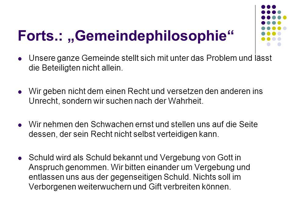 """Forts.: """"Gemeindephilosophie"""