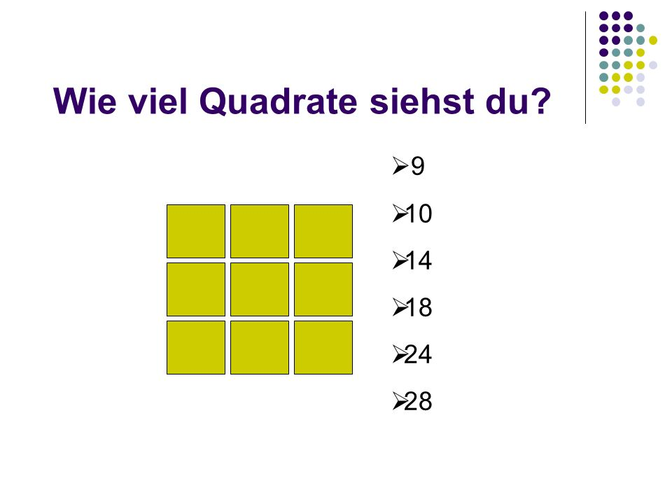 Wie viel Quadrate siehst du