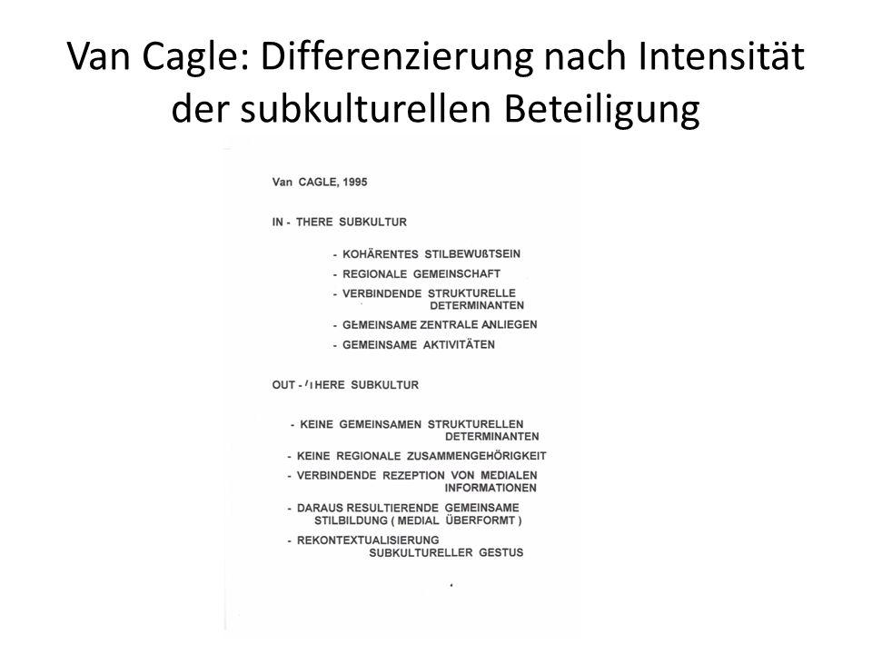 Van Cagle: Differenzierung nach Intensität der subkulturellen Beteiligung