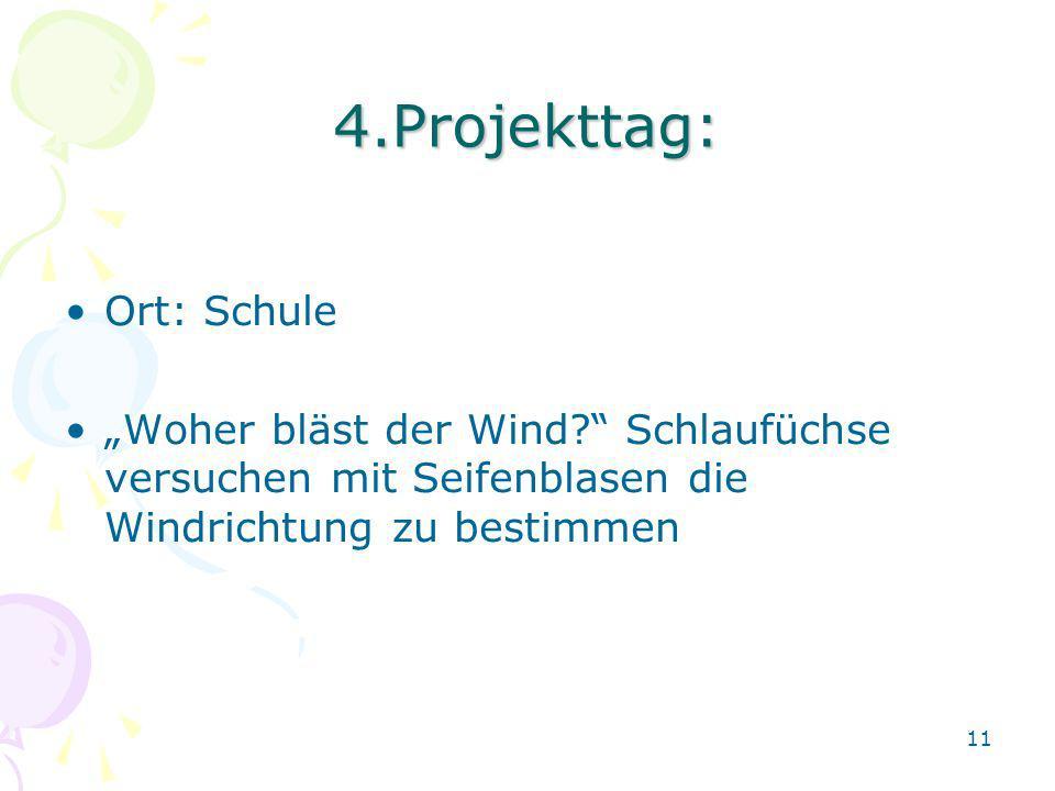 4.Projekttag: Ort: Schule