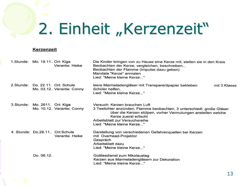 """2. Einheit """"Kerzenzeit"""