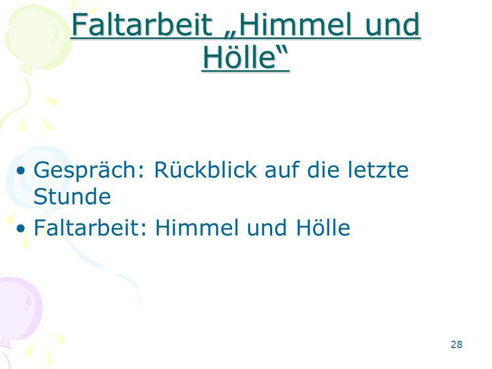 """Faltarbeit """"Himmel und Hölle"""