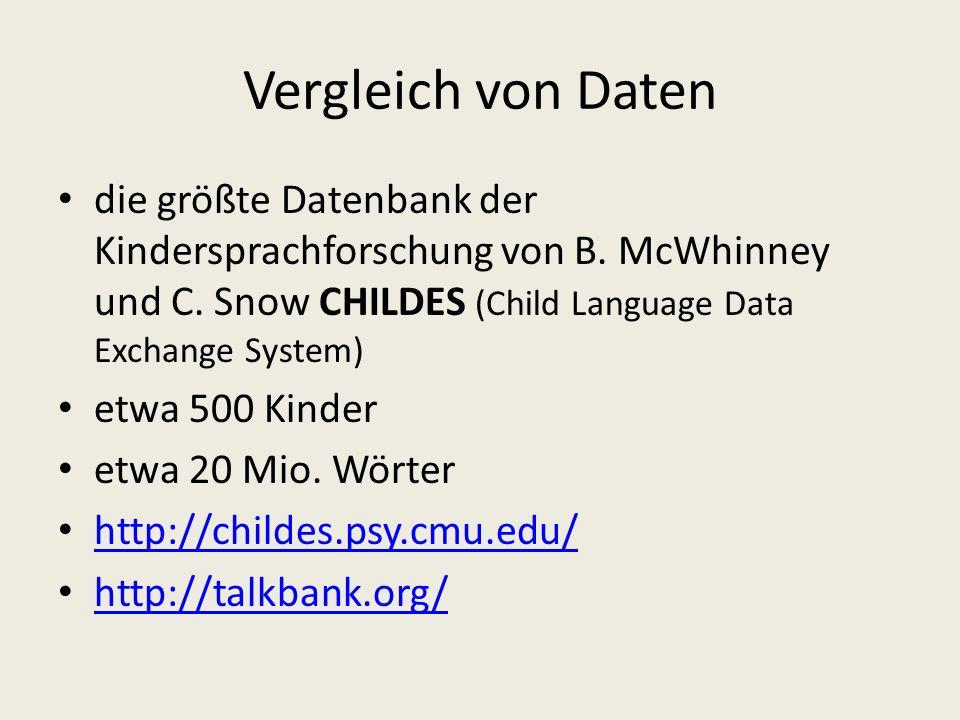 Vergleich von Daten die größte Datenbank der Kindersprachforschung von B. McWhinney und C. Snow CHILDES (Child Language Data Exchange System)