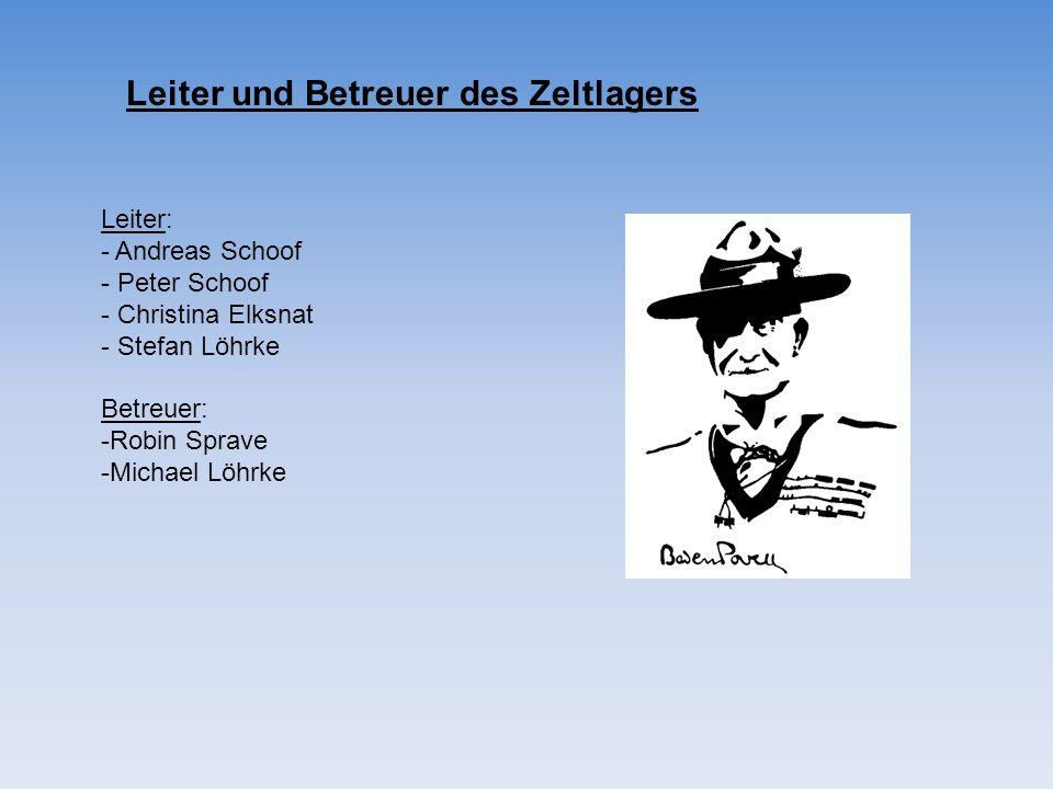 Leiter und Betreuer des Zeltlagers
