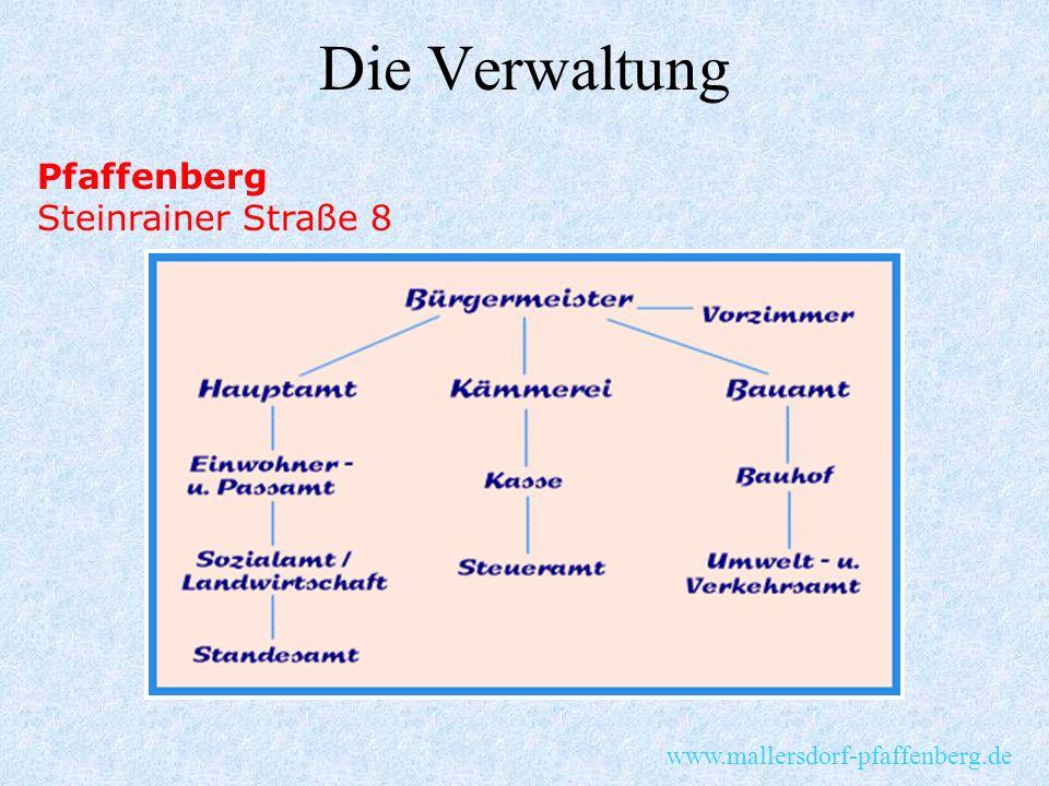 Die Verwaltung Pfaffenberg Steinrainer Straße 8