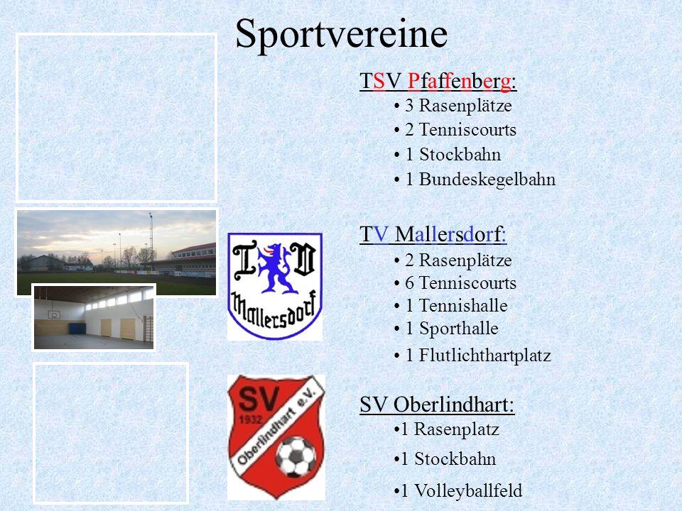 Sportvereine TSV Pfaffenberg: TV Mallersdorf: SV Oberlindhart: