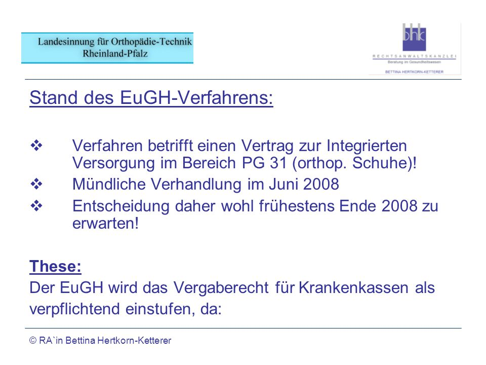 Stand des EuGH-Verfahrens: