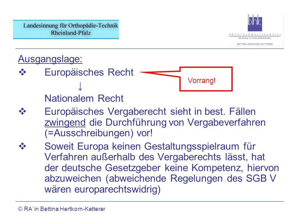 Ausgangslage: Europäisches Recht ↓ Nationalem Recht