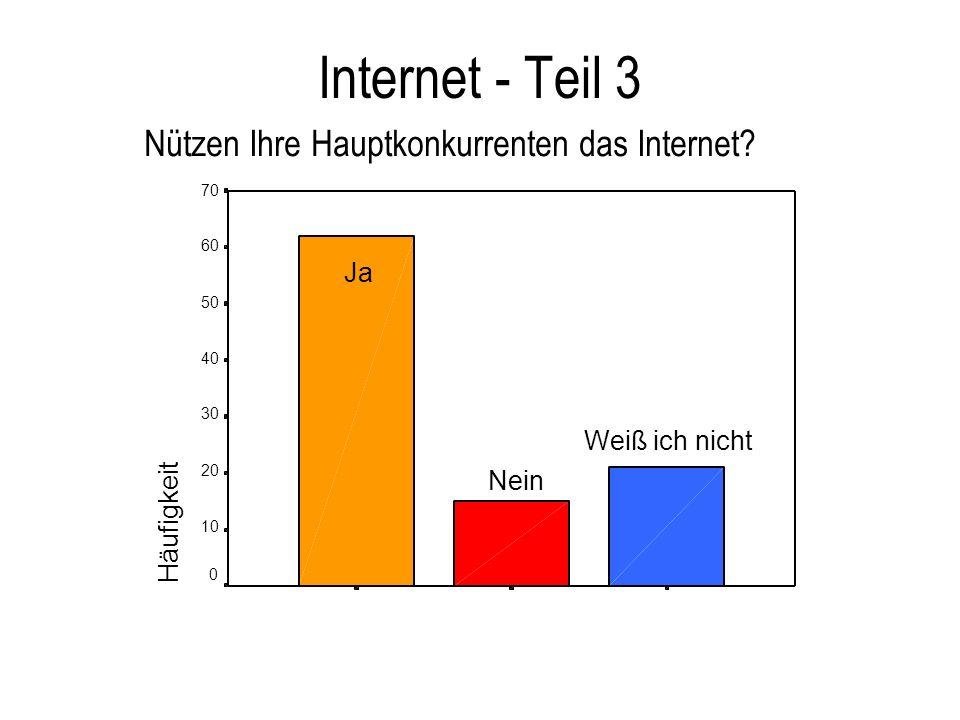 Internet - Teil 3 Nützen Ihre Hauptkonkurrenten das Internet Ja