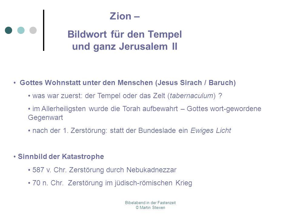 Bildwort für den Tempel und ganz Jerusalem II