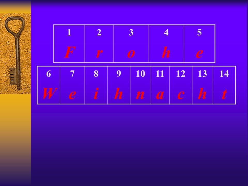1 F 2 r 3 o 4 h 5 e 6 W 7 e 8 i 9 h 10 n 11 a 12 c 13 14 t