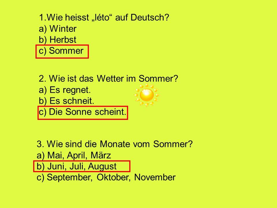 """1.Wie heisst """"léto auf Deutsch"""