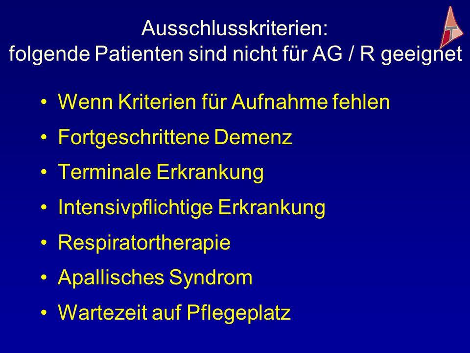 Ausschlusskriterien: folgende Patienten sind nicht für AG / R geeignet