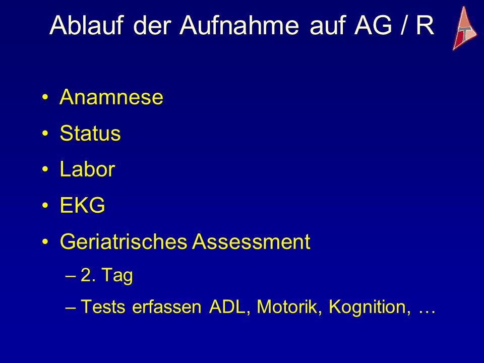Ablauf der Aufnahme auf AG / R