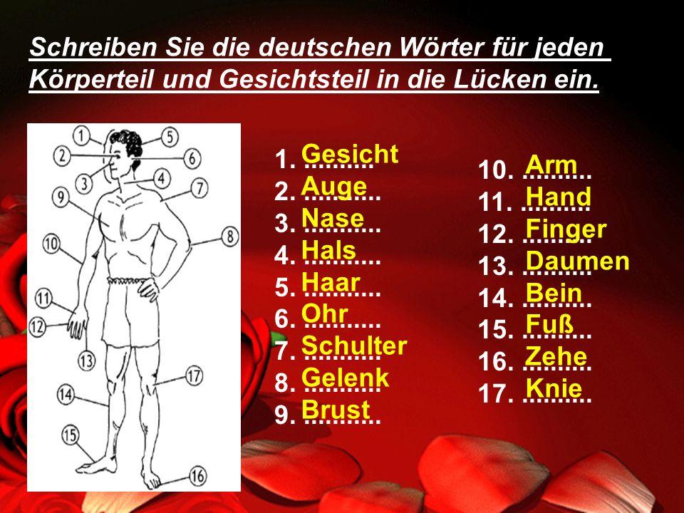 Schreiben Sie die deutschen Wörter für jeden