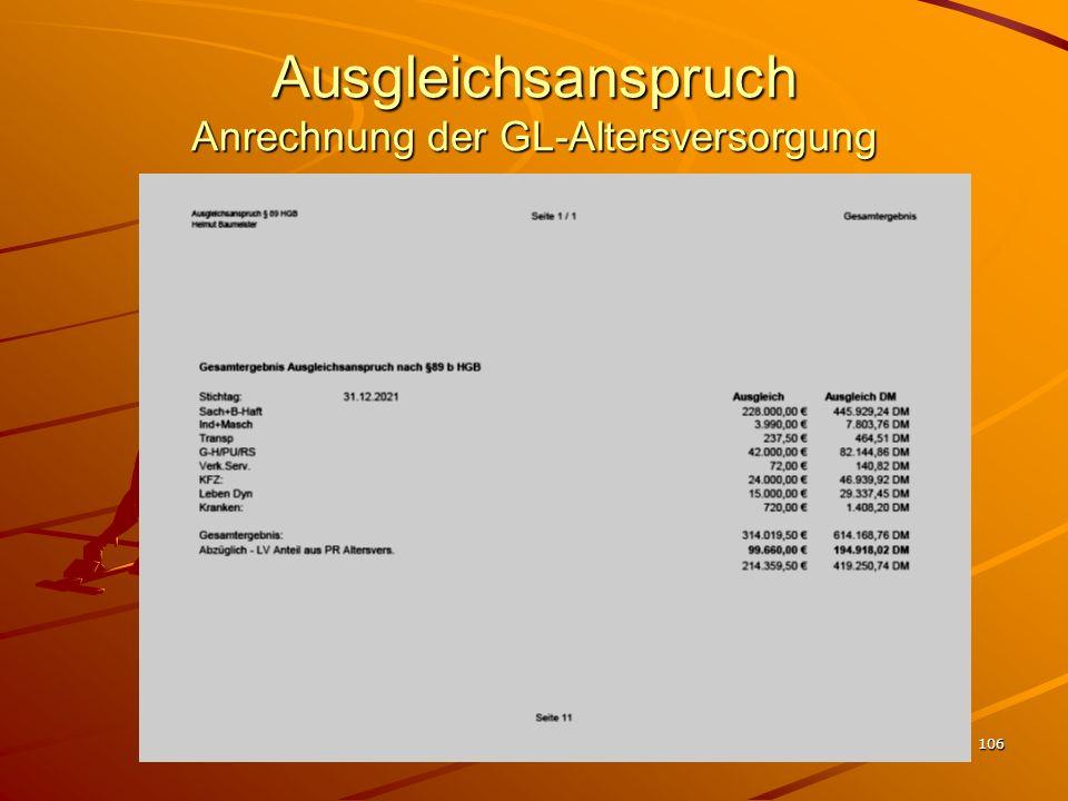 Ausgleichsanspruch Anrechnung der GL-Altersversorgung