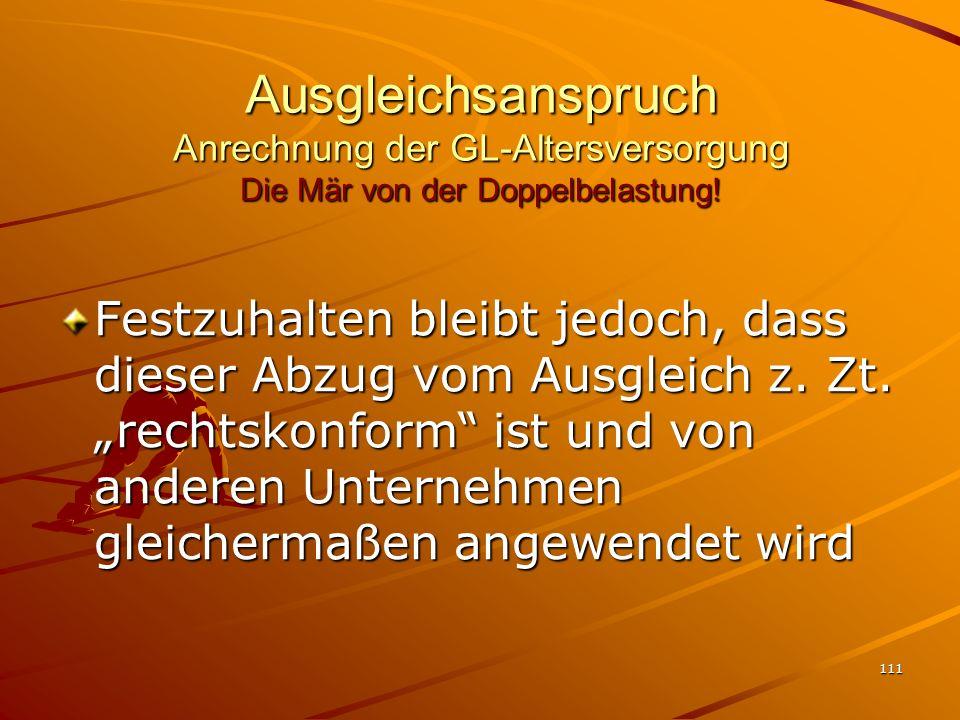 Ausgleichsanspruch Anrechnung der GL-Altersversorgung Die Mär von der Doppelbelastung!
