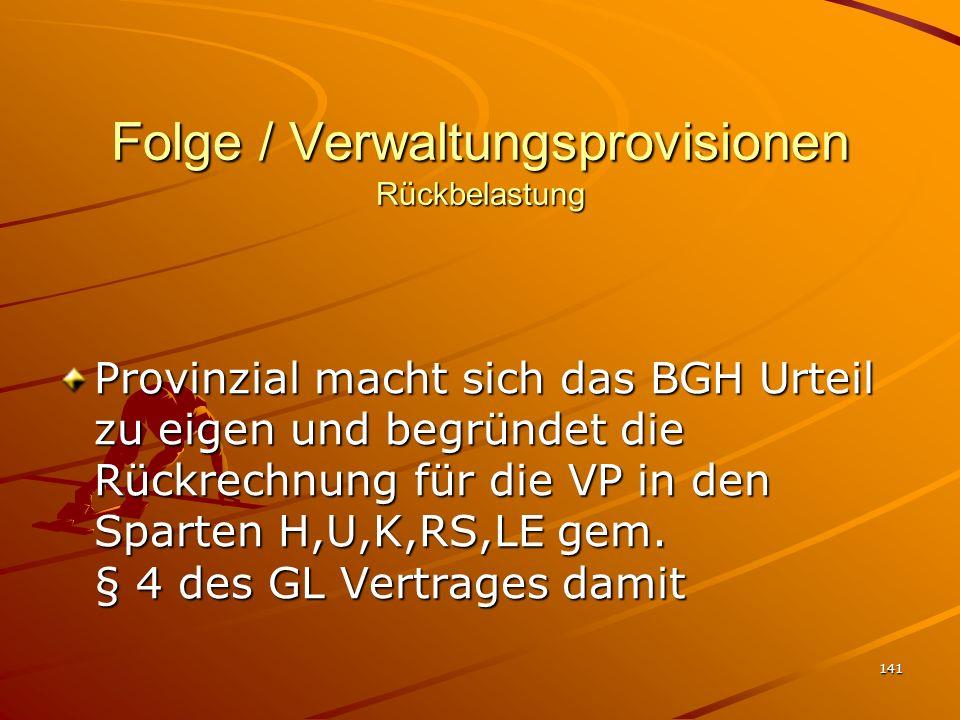 Folge / Verwaltungsprovisionen Rückbelastung