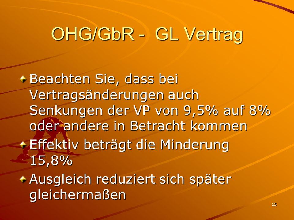 OHG/GbR - GL Vertrag Beachten Sie, dass bei Vertragsänderungen auch Senkungen der VP von 9,5% auf 8% oder andere in Betracht kommen.