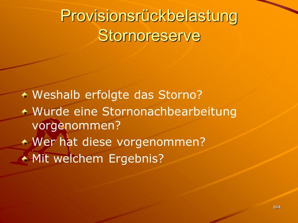 Provisionsrückbelastung Stornoreserve