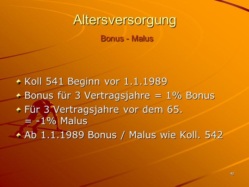 Altersversorgung Bonus - Malus