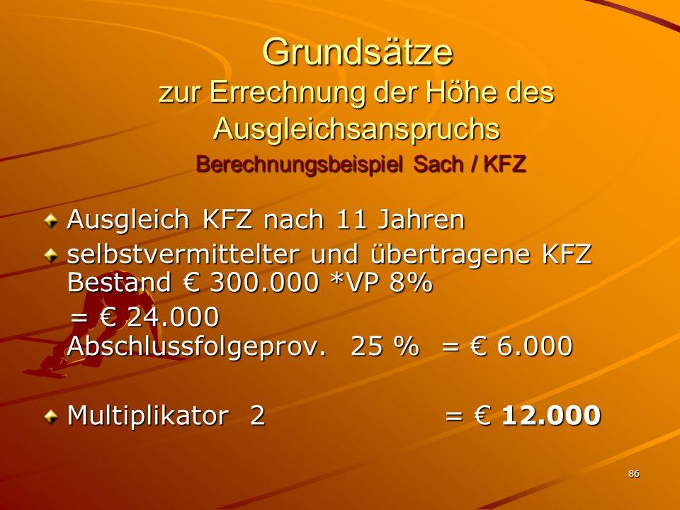 Grundsätze zur Errechnung der Höhe des Ausgleichsanspruchs Berechnungsbeispiel Sach / KFZ