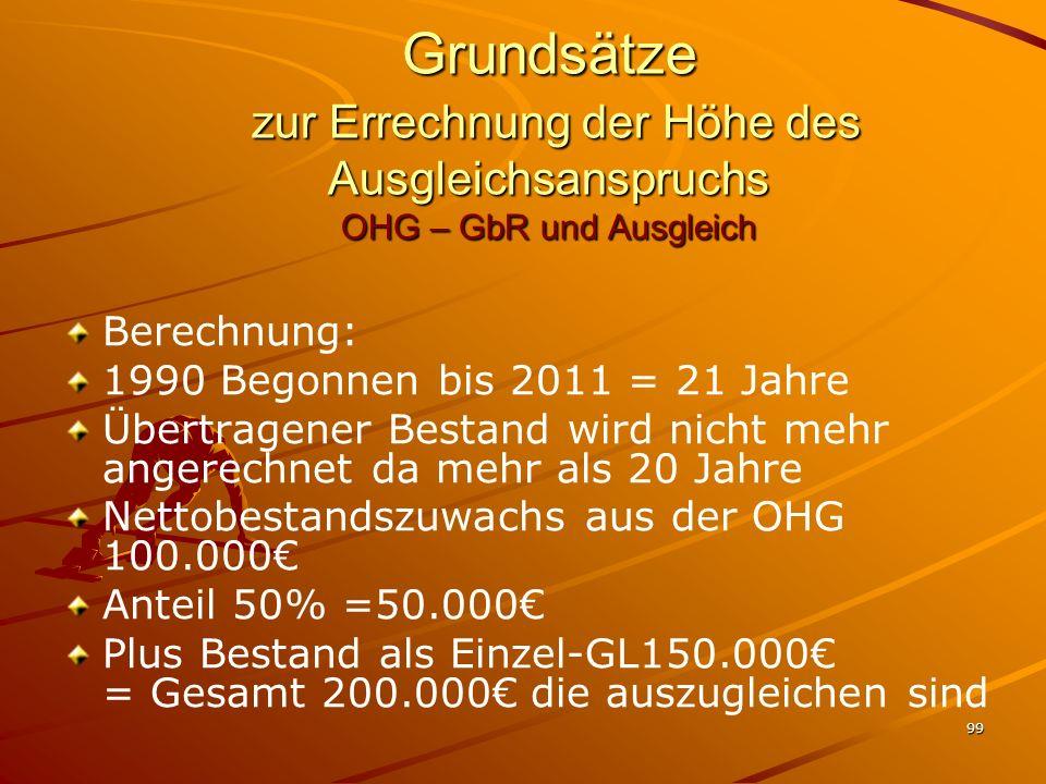 Grundsätze zur Errechnung der Höhe des Ausgleichsanspruchs OHG – GbR und Ausgleich