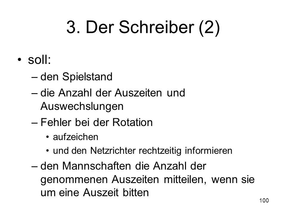 3. Der Schreiber (2) soll: den Spielstand