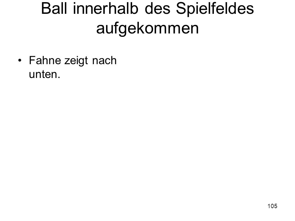 Ball innerhalb des Spielfeldes aufgekommen