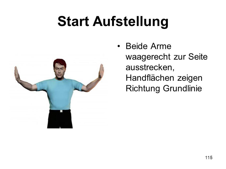 Start Aufstellung Beide Arme waagerecht zur Seite ausstrecken, Handflächen zeigen Richtung Grundlinie.