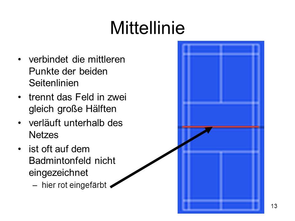 Mittellinie verbindet die mittleren Punkte der beiden Seitenlinien