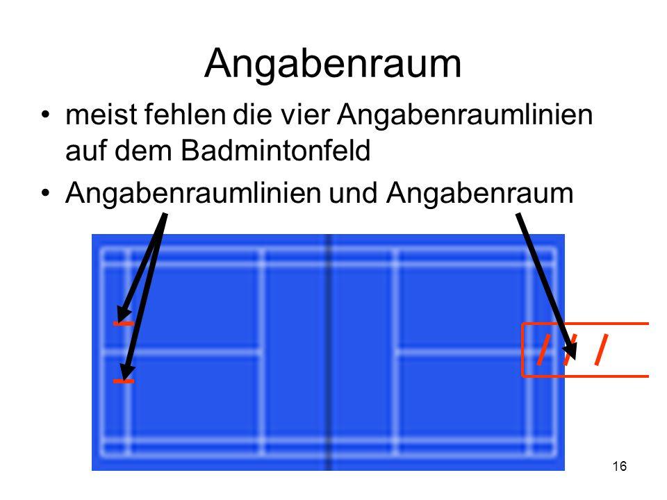 Angabenraum meist fehlen die vier Angabenraumlinien auf dem Badmintonfeld.