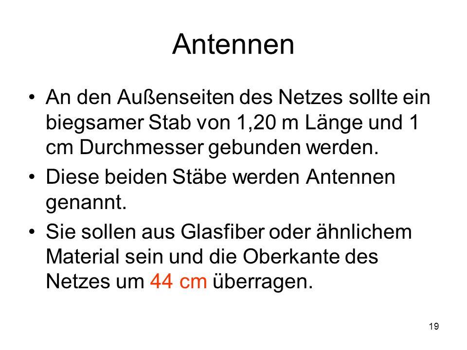 Antennen An den Außenseiten des Netzes sollte ein biegsamer Stab von 1,20 m Länge und 1 cm Durchmesser gebunden werden.