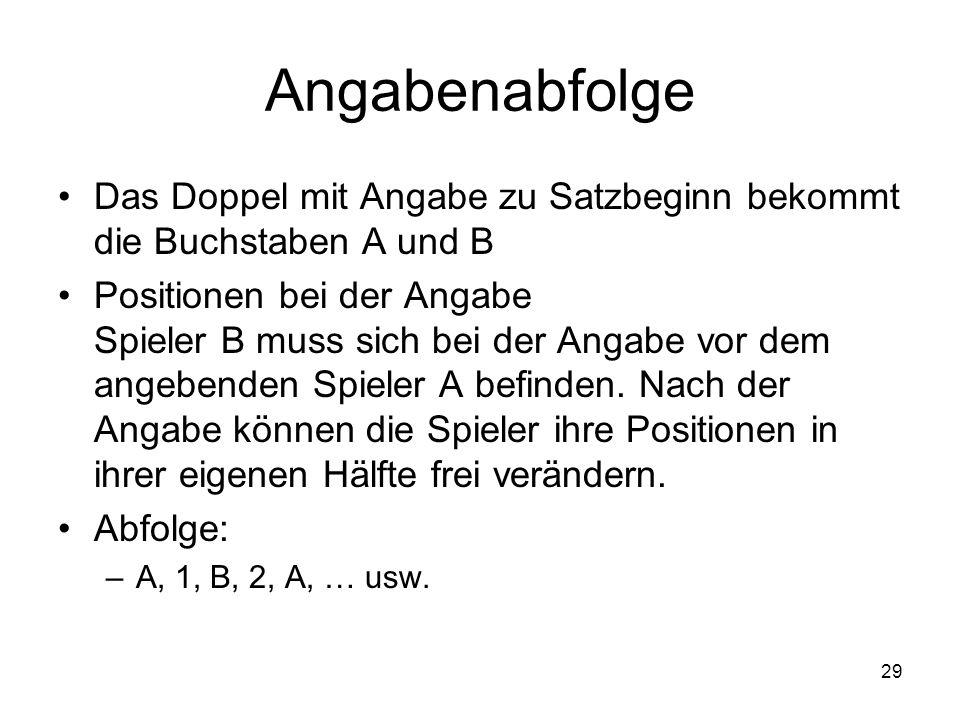 Angabenabfolge Das Doppel mit Angabe zu Satzbeginn bekommt die Buchstaben A und B.