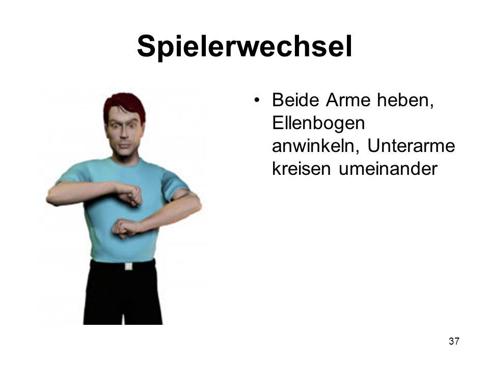 Spielerwechsel Beide Arme heben, Ellenbogen anwinkeln, Unterarme kreisen umeinander
