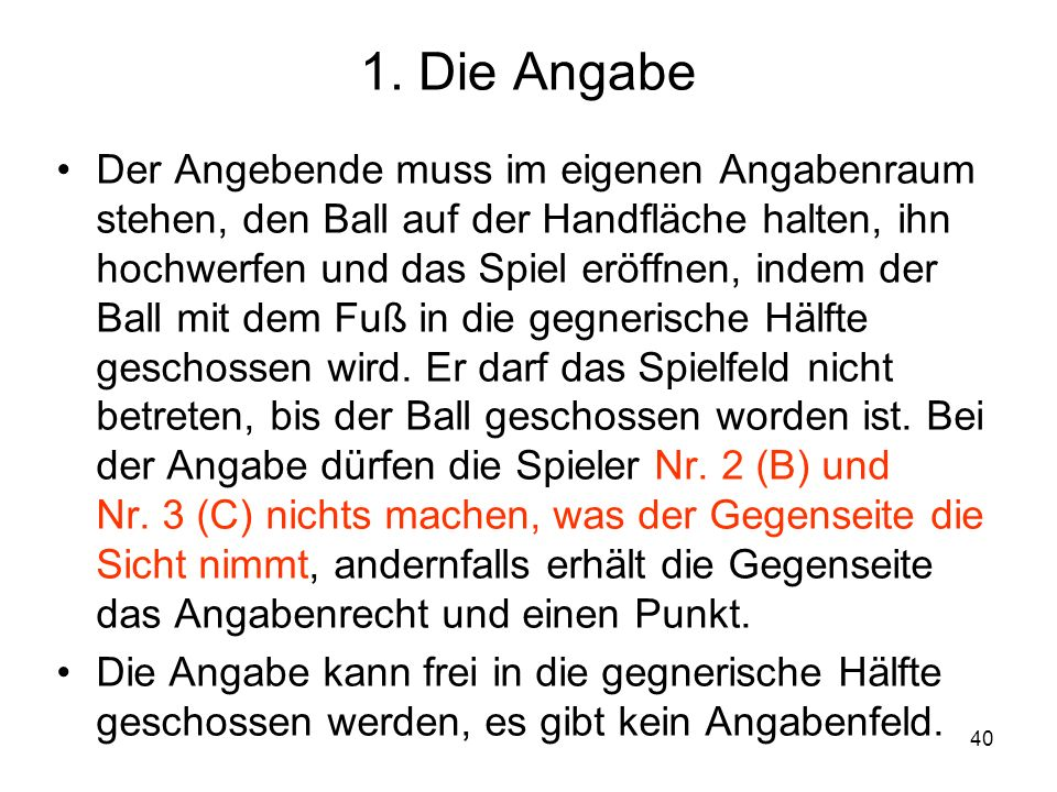 1. Die Angabe
