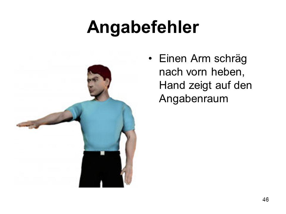 Angabefehler Einen Arm schräg nach vorn heben, Hand zeigt auf den Angabenraum