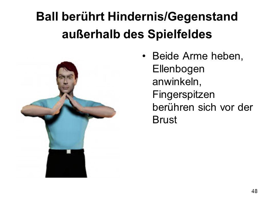 Ball berührt Hindernis/Gegenstand außerhalb des Spielfeldes