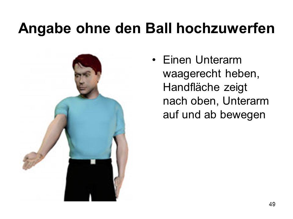 Angabe ohne den Ball hochzuwerfen