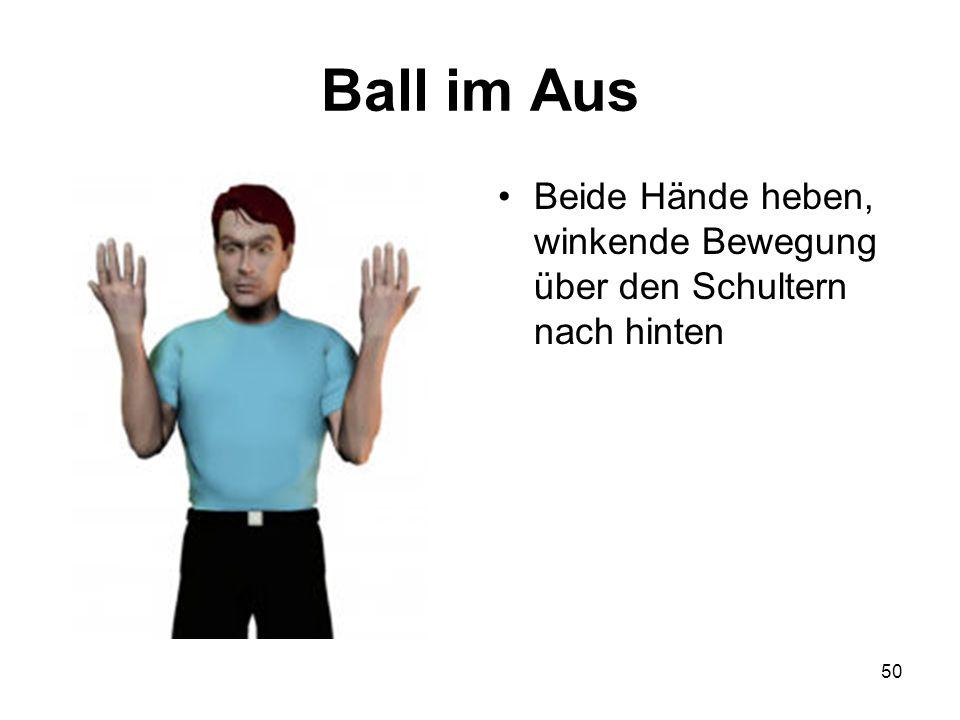 Ball im Aus Beide Hände heben, winkende Bewegung über den Schultern nach hinten