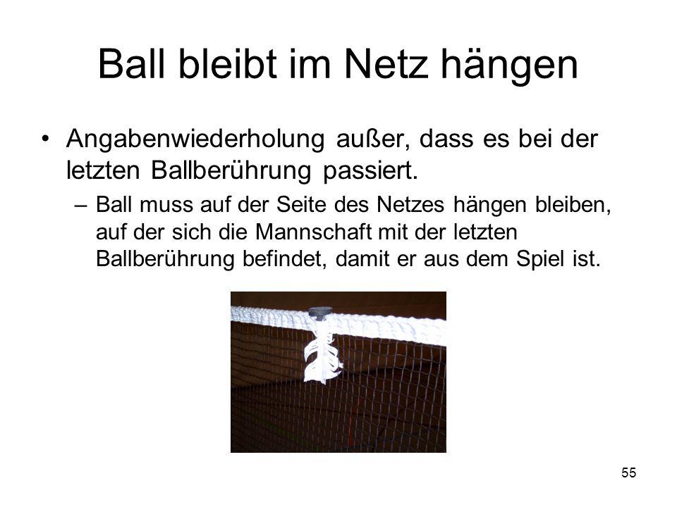 Ball bleibt im Netz hängen