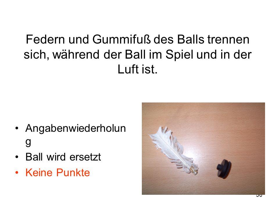 Federn und Gummifuß des Balls trennen sich, während der Ball im Spiel und in der Luft ist.