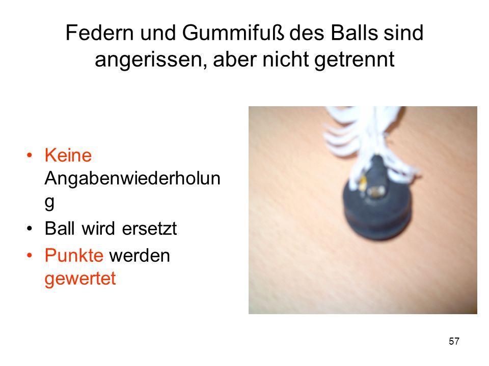 Federn und Gummifuß des Balls sind angerissen, aber nicht getrennt