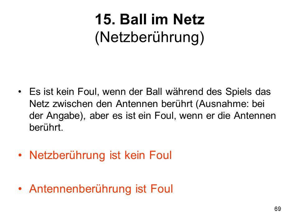 15. Ball im Netz (Netzberührung)