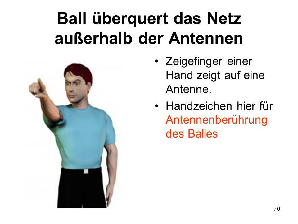 Ball überquert das Netz außerhalb der Antennen