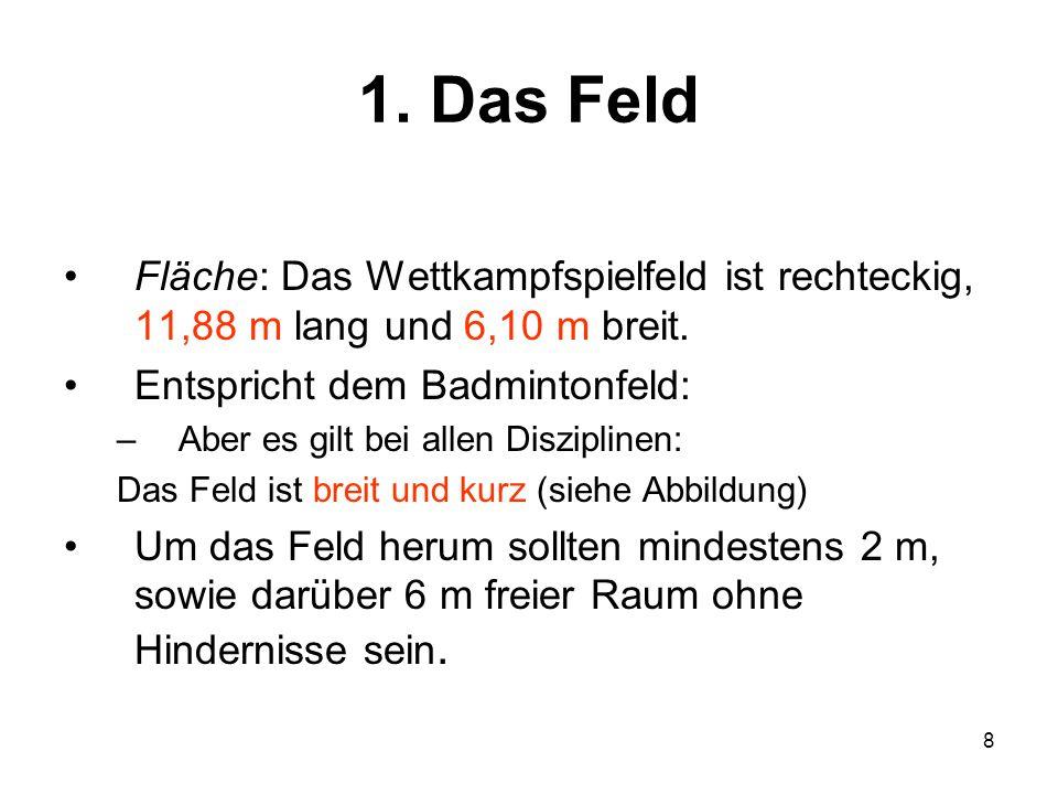 1. Das Feld Fläche: Das Wettkampfspielfeld ist rechteckig, 11,88 m lang und 6,10 m breit. Entspricht dem Badmintonfeld:
