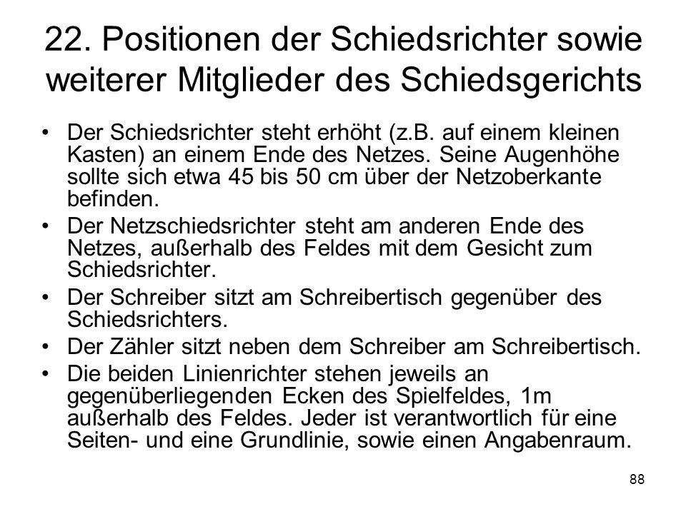 22. Positionen der Schiedsrichter sowie weiterer Mitglieder des Schiedsgerichts