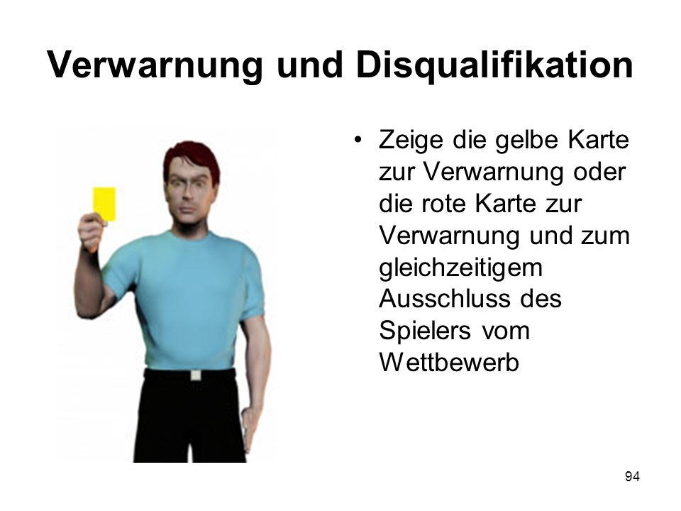 Verwarnung und Disqualifikation