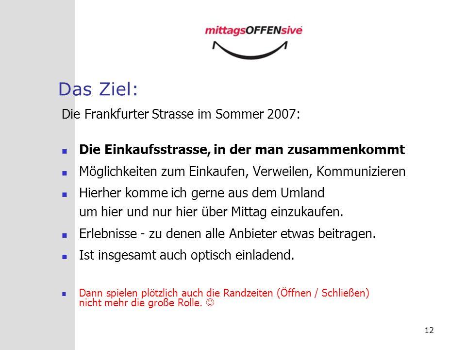Das Ziel: Die Frankfurter Strasse im Sommer 2007: